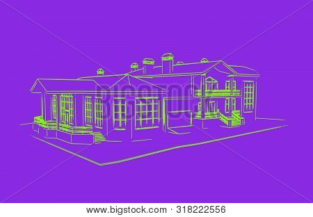 Ufo Green Scetch Of House Isolated On Proton Purple Background
