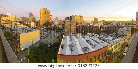 San Antonio, Tx, Usa - Dec. 11, 2018: Historic Building Panorama On E Commerce St With Weston Centre