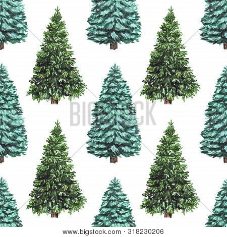 Watercolor Seamless Christmas Pattern With Christmas Tree For Winter Holidays Design Isolated On Whi