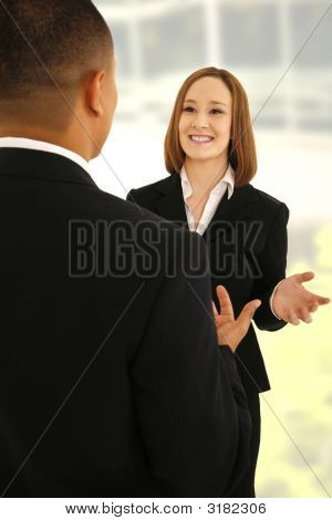 Business Team Talking With Gesture