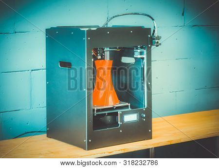 3d Printer Working Close Up. Automatic Three Dimensional 3d Printer