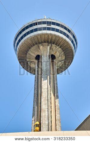 Niagara Falls, Canada - July 25, 2019: Skylon Tower On Summer Day At Niagara Falls, On. Skylon Tower