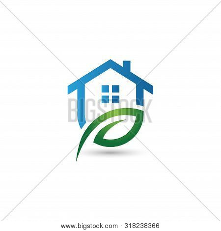 Green House Logo, Leaf House Logo,house Logo, Green House Icon, Green House Icon Vector Isolated On