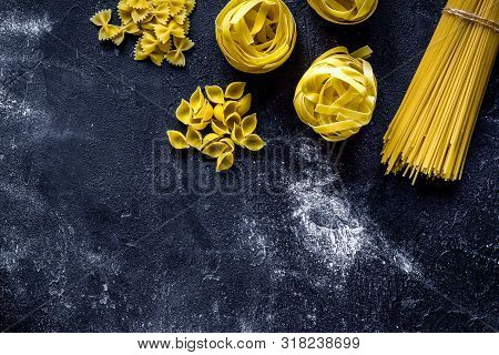 Various Kinds Of Paste On Dark Background Top View