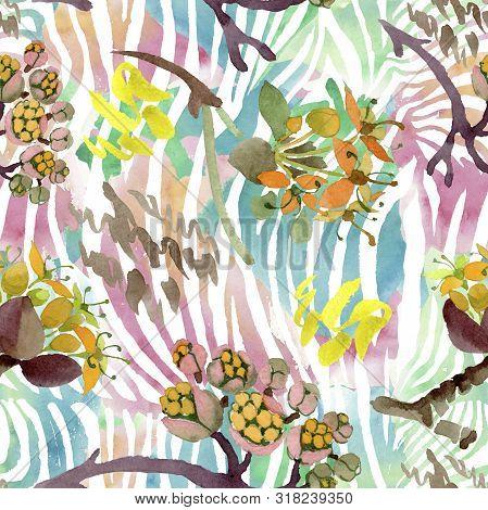 Cornus Mas Floral Botanical Flowers. Watercolor Background Illustration Set. Seamless Background Pat