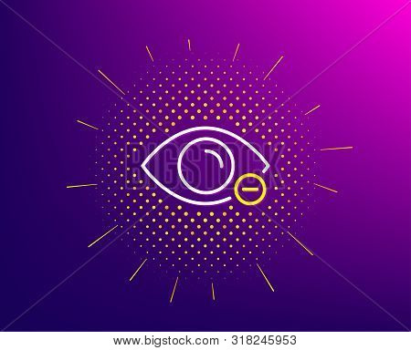 Myopia Line Icon. Halftone Pattern. Eye Diopter Sign. Optometry Vision Symbol. Gradient Background.