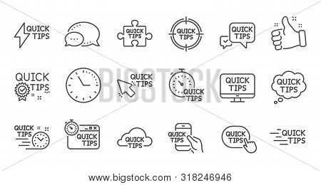 Quick Tips Line Icons. Helpful Tricks, Solution And Quickstart Guide. Tutorial Linear Icon Set. Qual
