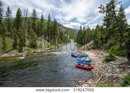 Lowman Idaho - July 1, 2019: Rafting Tours Put In Rafts Down The Ramp At Boundary Creek Area Of Idah