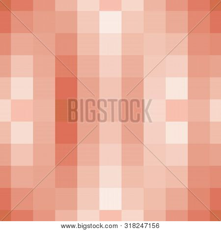 Abstract Seamless Pattern With Pixelated Squares And Tiles. Vector Illustration In Shades Of Orange,