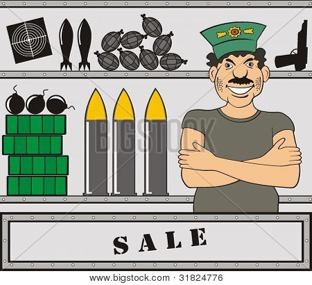 The seller of the weapon vector