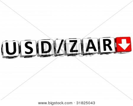 3D Currency Usd Zar Rate Concept Symbol Button