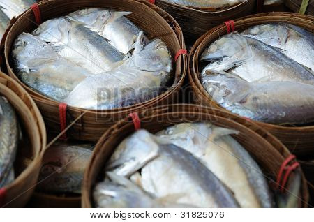 Tuna fish packaged in bamboo basket fresh market poster