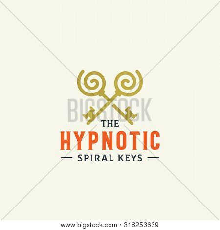 Hypnotic Spiral Keys. Abstract Vector Sign, Symbol Or Logo Template. Crossed Keys Sillhouettes With