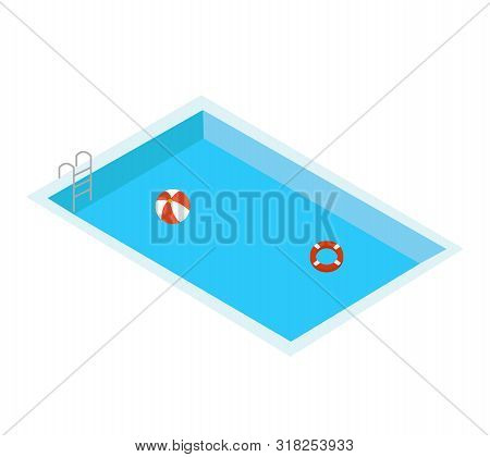 Swimming Pool On White Background. Flat Style. Hello Summer. Swimming Pool On White Background. Flat