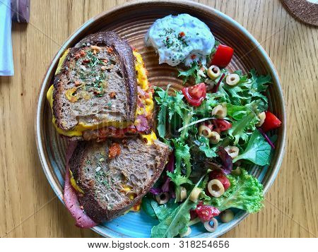 Toast Sandwich with Sourdough Bread, Roast Beef, Cheddar Cheese, Salad and Mayonnaise. Organic Fast Food. poster
