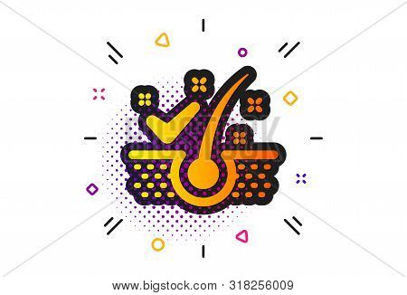 Dandruff Shampoo Sign. Halftone Circles Pattern. Anti-dandruff Flakes Icon. Clean Hair Symbol. Class