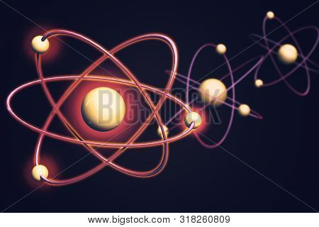 Atom Backgrounds From Geometric Shapes, Circle Of Points Of Lines. Atom Nuclear Model On Energetic B