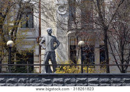Vladivostok, Russia - April 28, 2019: Statue Of Yul Brynner Russian-american Film And Stage Actor In