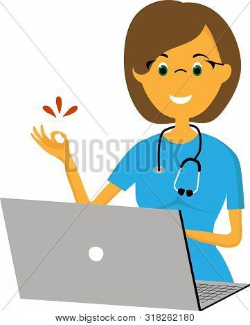 Online Consultation With A Gynecologist. Picture For Poster Design, Clinic Advertising And Obstetric