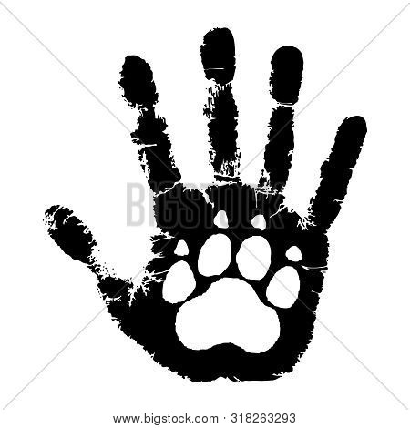 Take Care Of Animals. Animal Paw Print On Handprint Human. Isolated Black Symbol On White Background