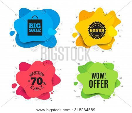 Wow Offer. Liquid Shape, Various Colors. Special Sale Price Sign. Advertising Discounts Symbol. Geom