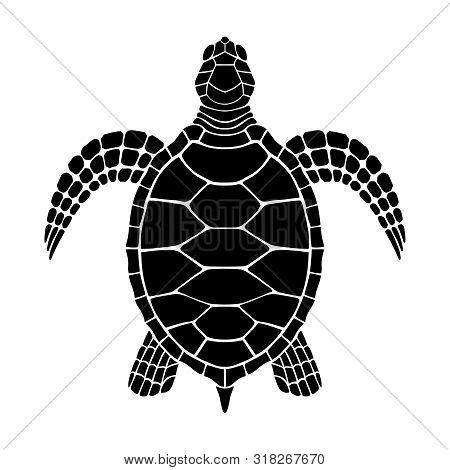 Sea Turtle Graphic Icon. Sea Turtle Black Sign Isolated On White Background. Tattoo. Vector Illustra