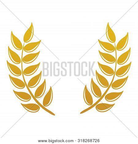 Vector Logo Design And Elements Of Wheat Grain, Wheat Ears, Wheat Seed, Or Wheat Rye, Prosperity Sym