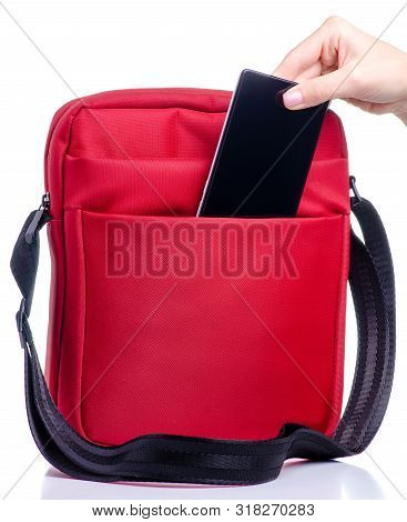 Smartphone Put Into Red Messenger Bag On White Background Isolation