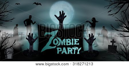 Invitation Template Halloween Zombie Party. Zombie Hand Rising From The Grave At The Graveyard With