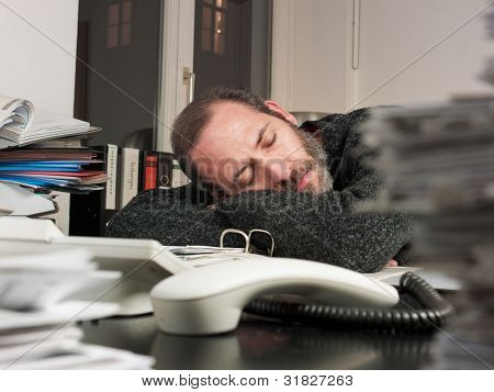 Businessman Works At Night Time
