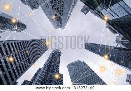 Digital Network Connection Lines Of High-rise Office Buildings, Skyscrapers, Architectures In Financ