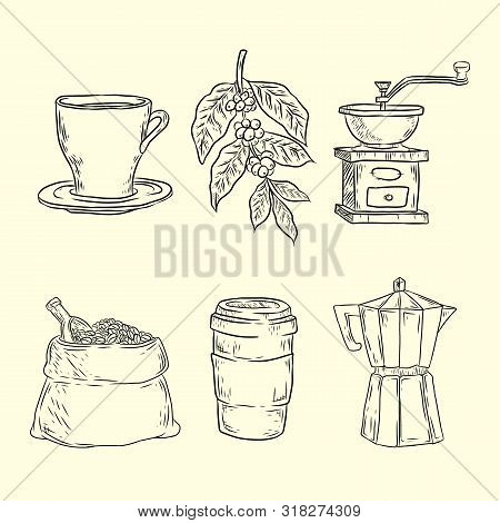 Coffee Set With Coffee Grinder Mill Beans Bag Of Coffee Scoop Coffee Cup. Hand Drawn Vector Illustra