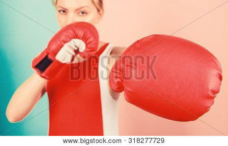 Woman Boxing Gloves Focused On Attack. Ambitious Girl Fight Boxing Gloves. Female Rights. I Am Gonna
