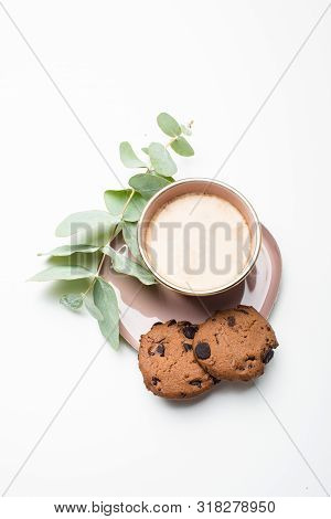 Beautiful Enameled Cup Of Coffee With Cookies