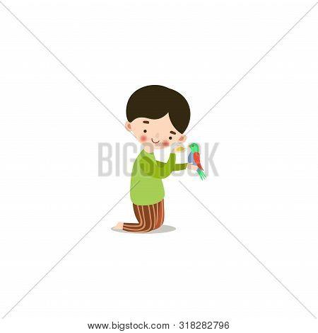 Cute Little Boy Feeding A Bird With Birdseed. Raster Illustration In Flat Cartoon Style