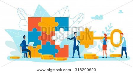 Informational Banner Matching Puzzle Element. Creative Poster Man Makes Puzzles From Big Elements. F