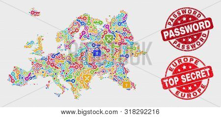Security Europe Map And Seal Stamps. Red Round Top Secret And Password Grunge Seal Stamps. Colorful