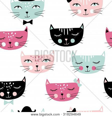 Cute Cats Seamless Pattern. Pet Vector Illustration. Cartoon Animals Images. Cute Kitten Design For