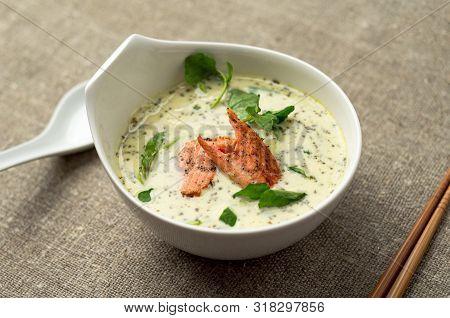 Creamy Tom Kha Thai Soup With Salmon.