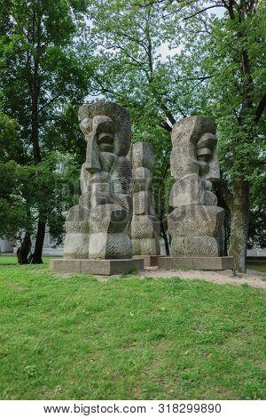 VILNIUS, LITHUANIA - JULY 30, 2019: Lithuanian Ballad, Sculpture by Vladas Vildziunas, Architect Gediminas Baravikas, Estonian Dolomite, Built in 1973 in Vilnius, in Front of Gediminas Castle