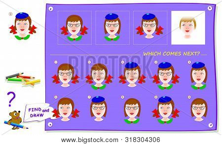 Logic Puzzle Game For Children And Adults. Which Portrait Of Girl Comes Next? Find It And Draw In Wh