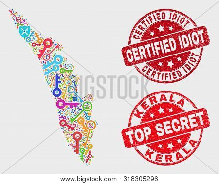 Safety Kerala State Map And Seal Stamps. Red Rounded Top Secret And Certified Idiot Distress Seal St