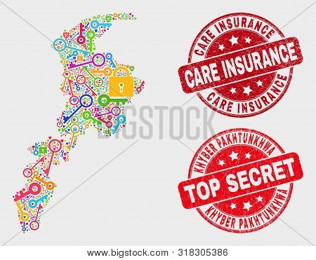 Security Khyber Pakhtunkhwa Province Map And Watermarks. Red Rounded Top Secret And Care Insurance T