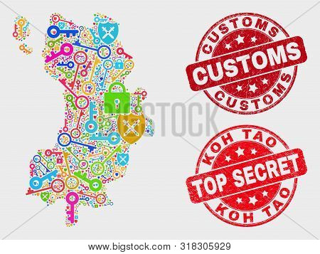 Security Koh Tao Map And Seal Stamps. Red Round Top Secret And Customs Distress Seal Stamps. Colored