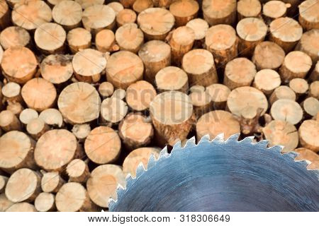 Pile Of Firewood. Sawmill Blade With Wall Firewood Background. Logging For Winter. Wall Firewood, Ba