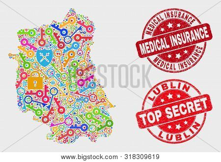Guard Lublin Voivodeship Map And Seal Stamps. Red Round Top Secret And Medical Insurance Distress Se