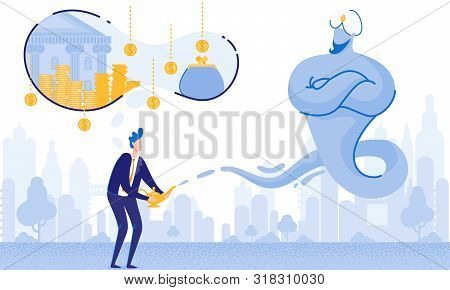 Man With Lamp Alladin And Gin. Big Money Dream. From Poverty To Wealth. Achive Goal. Vector Illustra