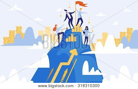 Men And Women Climb Top Of Mountain. Successful Businessmen Teamwork. From Poverty To Wealth. Achive