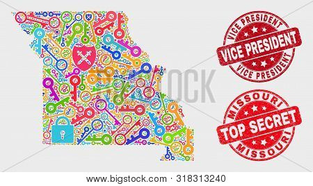 Guard Missouri State Map And Seal Stamps. Red Round Top Secret And Vice President Textured Watermark
