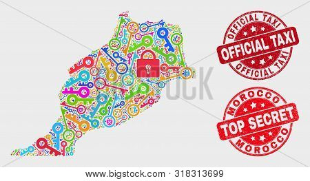 Passkey Morocco Map And Watermarks. Red Rounded Top Secret And Official Taxi Scratched Watermarks. B
